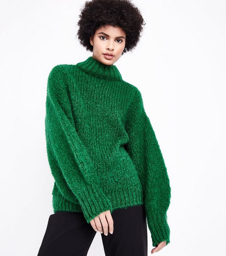 green-funnel-neck-oversized-jumper